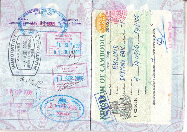 Estampas de visa.